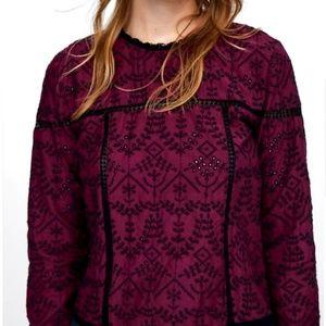 Zara wine burgundy long sleeve embroidered black